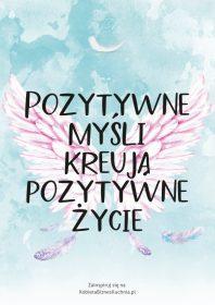 Plakat skrzydła pozytywne myśli